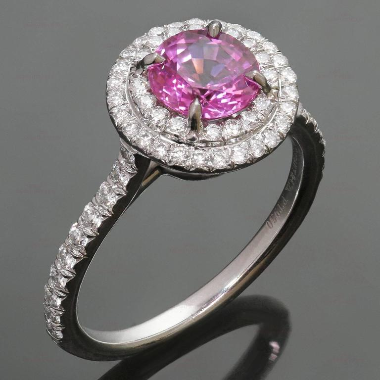 fb66a946b Soleste Pink Sapphire Diamond Platinum Ring For Sale. This stunning Tiffany  & Co's Soleste collection is crafted in fine platinum and set with a