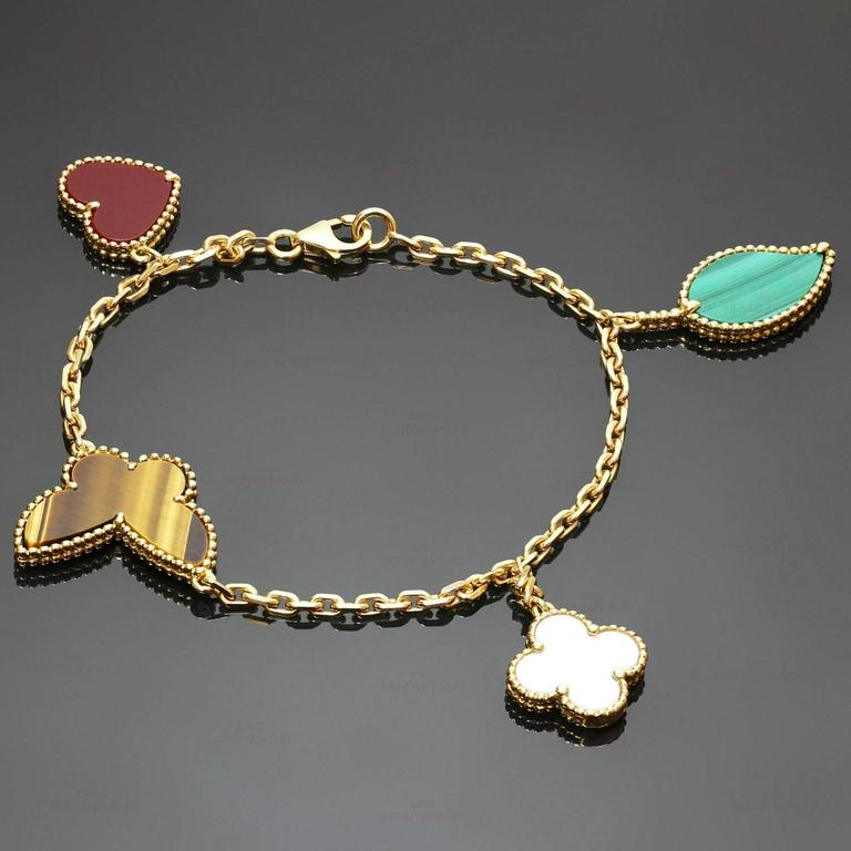 Women's Van Cleef & Arpels Lucky Alhambra Gemstone Gold Bracelet For Sale
