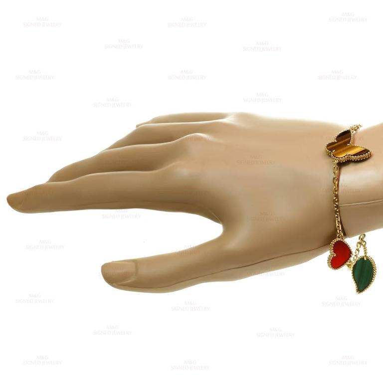 Van Cleef & Arpels Lucky Alhambra Gemstone Gold Bracelet For Sale 1