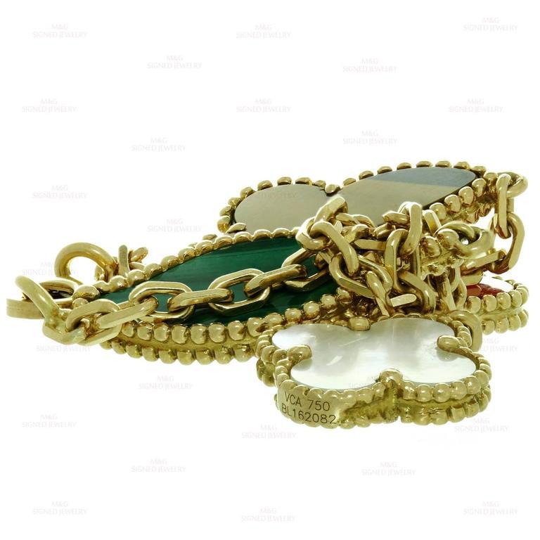 Van Cleef & Arpels Lucky Alhambra Gemstone Gold Bracelet For Sale 2