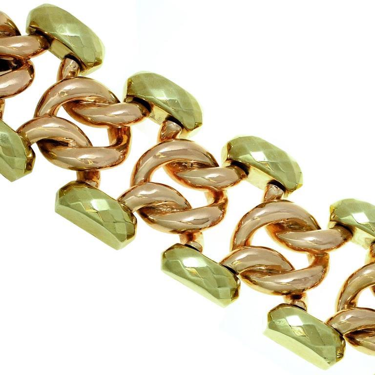 1940s Two Color Gold Large Link Bracelet