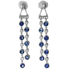 Tiffany & Co. Jazz Sapphire Diamond Platinum Double Drop Earrings