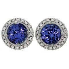 Tiffany & Co. Seleste Tanzanite Diamond Platinum Stud Earrings