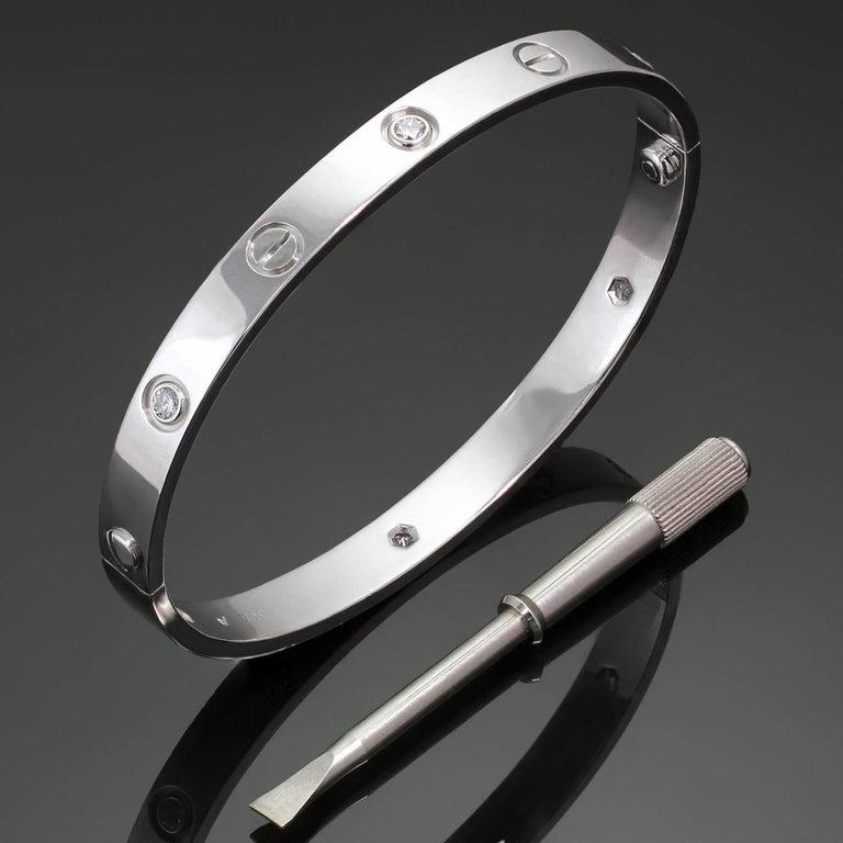 Cartier Love Six-Diamond White Gold Bracelet Box Papers Sz.18 For Sale 1