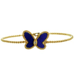 Van Cleef & Arpels Diamond Lapis Lazuli Butterfly Yellow Gold Bangle Bracelet