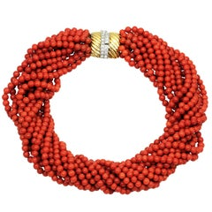 Tiffany & Co. Oxblood Coral Diamond Yellow Gold 12 Strand Necklace