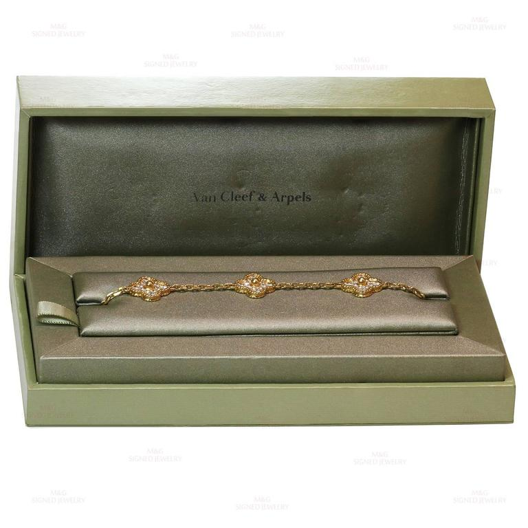 Van Cleef & Arpels Alhambra Diamond Gold Five Motif Bracelet For Sale 2