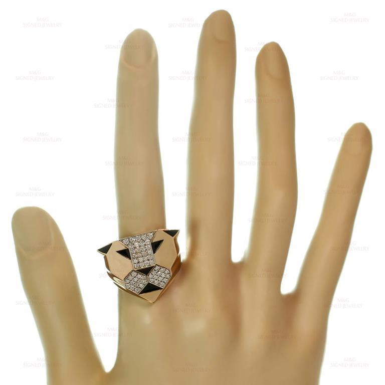 1990s Bulgari Enigma Black Enamel Diamond Gold Lion Ring 1