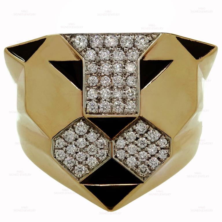 1990s Bulgari Enigma Black Enamel Diamond Gold Lion Ring In Excellent Condition In New York, NY