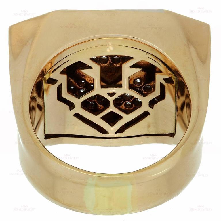 1990s Bulgari Enigma Black Enamel Diamond Gold Lion Ring 3