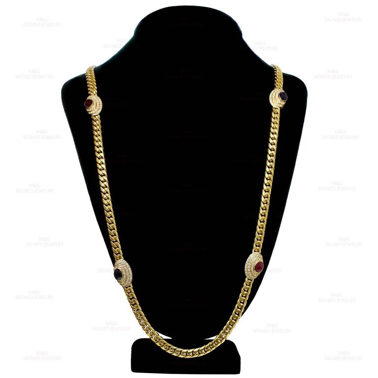 1980s Diamond Ruby Sapphire Yellow Gold Long Chain Necklace 4