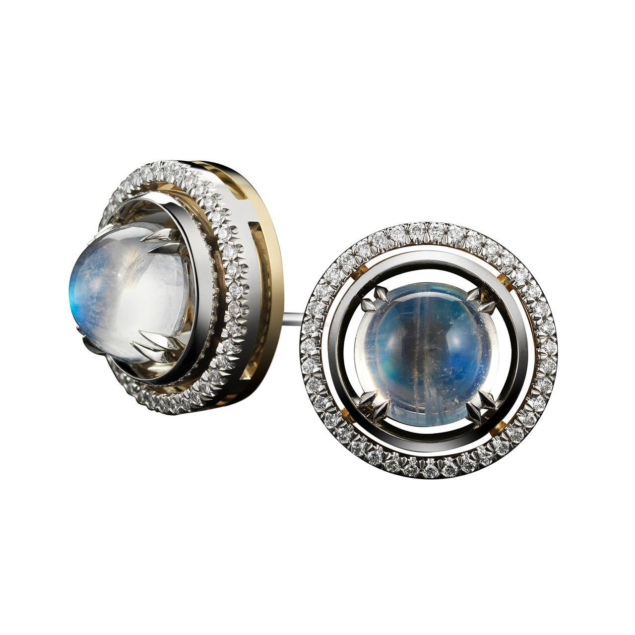 Alexandra Mor Medium Moonstone Studs with Diamond Earring Jackets For Sale