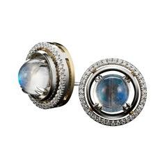 Alexandra Mor Medium Moonstone Studs with Diamond Earring Jackets