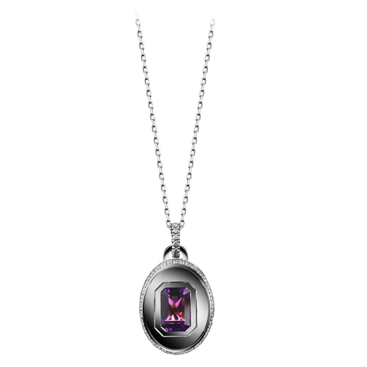 Alexandra Mor Emerald-Cut Amethyst and Diamond February Birthstone Pendant