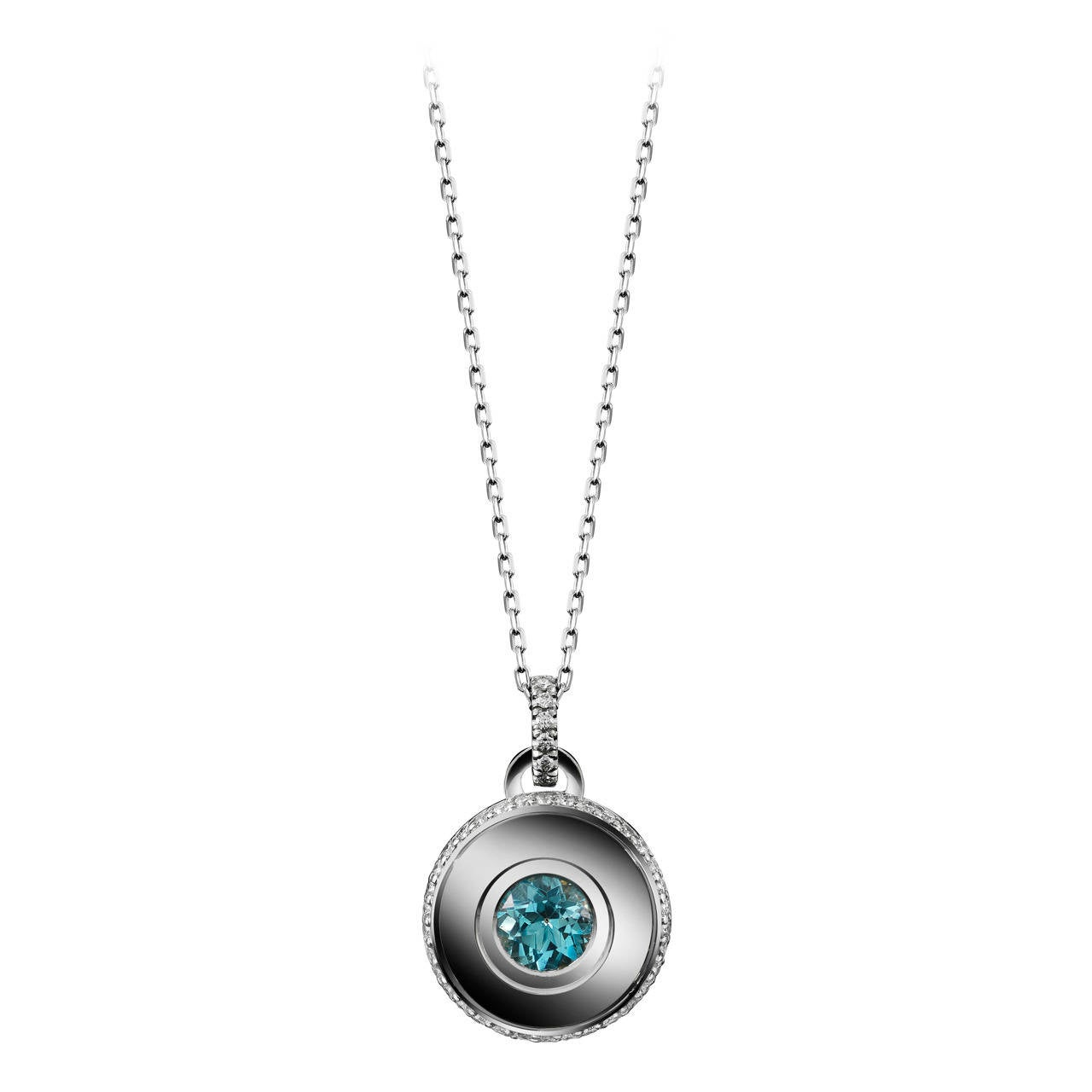 Alexandra Mor Brilliant-Cut Aquamarine and Diamond March Birthstone Pendant