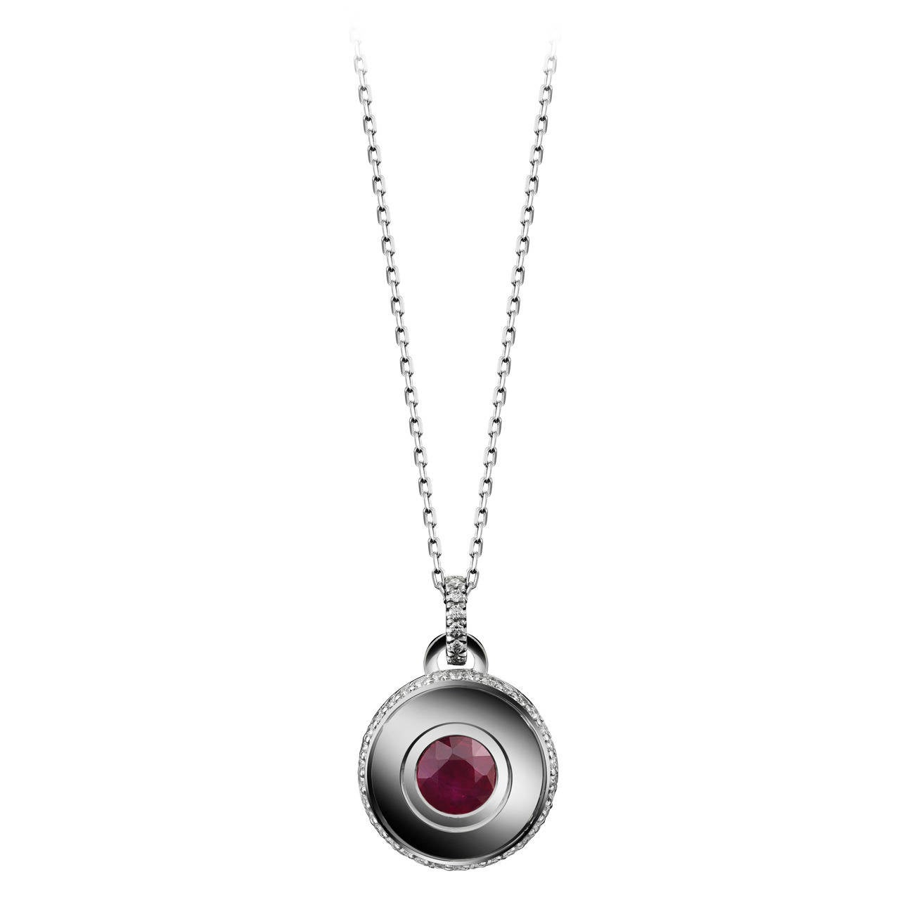 Alexandra Mor Round Brilliant-Cut Ruby and Diamond July Birthstone Pendant
