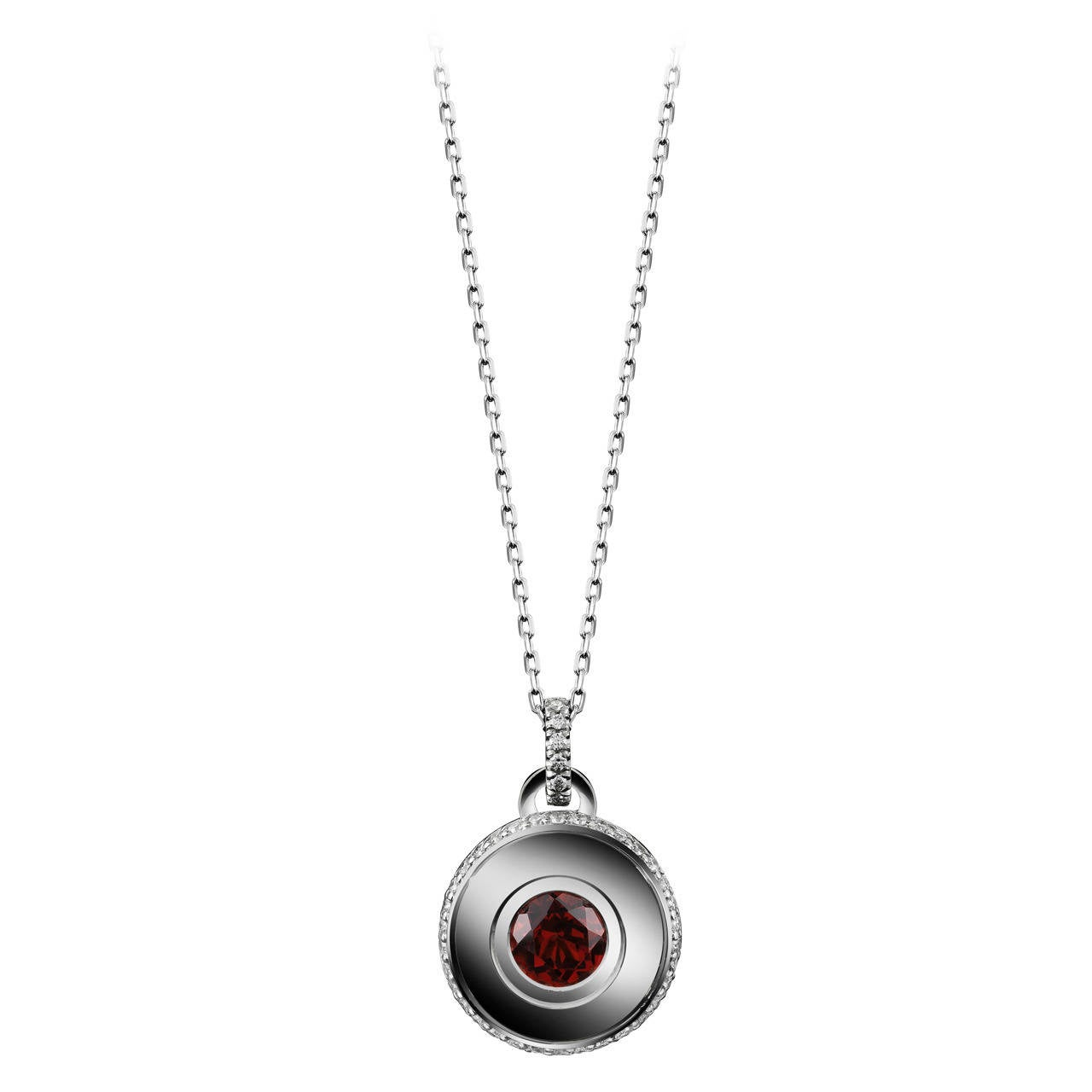 Alexandra Mor Round Brilliant-Cut Garnet and Diamond January Birthstone Pendant