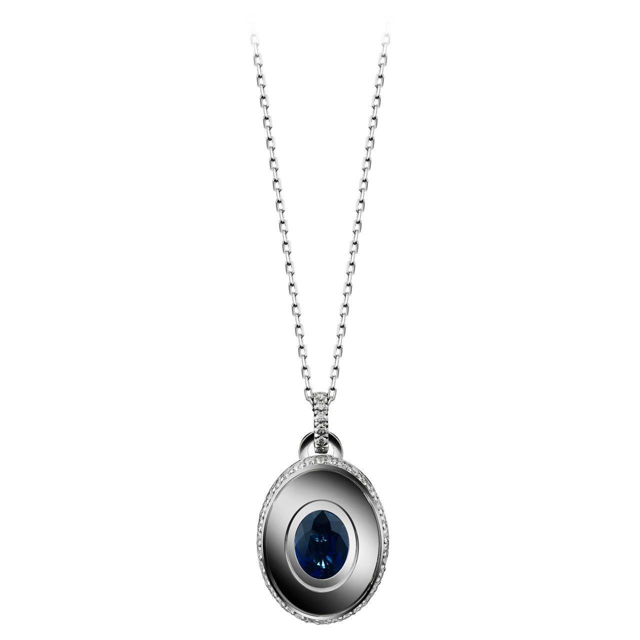 Alexandra Mor Sapphire and Diamond September Birthstone Pendant For Sale