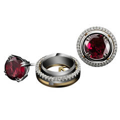 Alexandra Mor Medium Red Rhodolite Studs with Diamond Earring Jackets