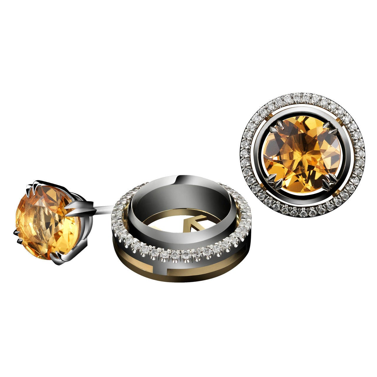 round cut earrings citrine stud amazon cttw com dp jewelry gold mm yellow