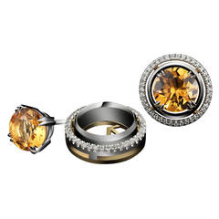 Alexandra Mor Yellow Citrine Studs with Signature Diamond Earring Jackets