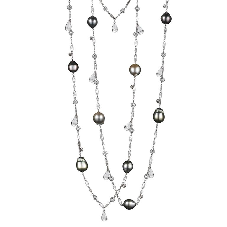 Alexandra Mor Pearl Diamond Sautoir Necklace with Briolettes and Snowflake Charm