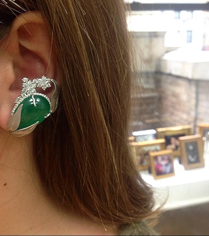Alexandra Mor Emerald Diamond Flower Earrings For Sale 1