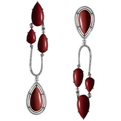 Alexandra Mor Asymmetrical Medi Coral Diamond Gold Chandelier Earrings
