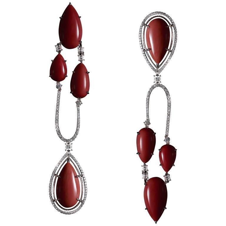 Alexandra Mor Asymmetrical Medi Coral Diamond Gold Chandelier Earrings