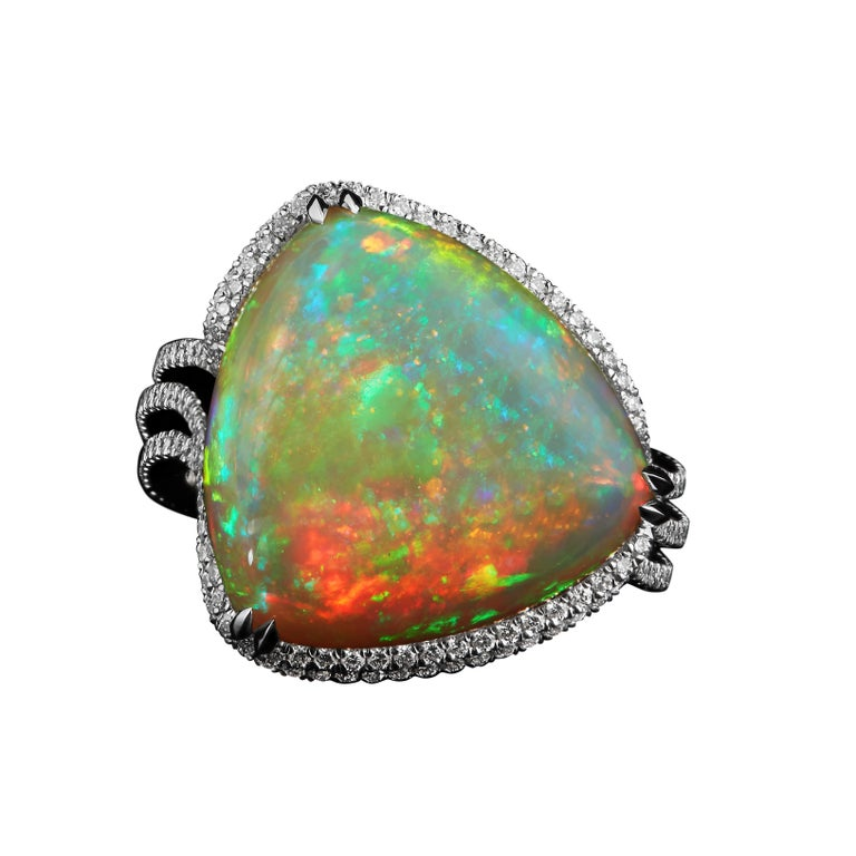 Alexandra Mor 13.07 Carat Checkerboard - Harlequin Opal and Diamond Ring For Sale