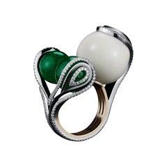 Alexandra Mor Wild Tagua-Seed, Muzo-Mine Emerald Beads and Diamonds Sphere Ring