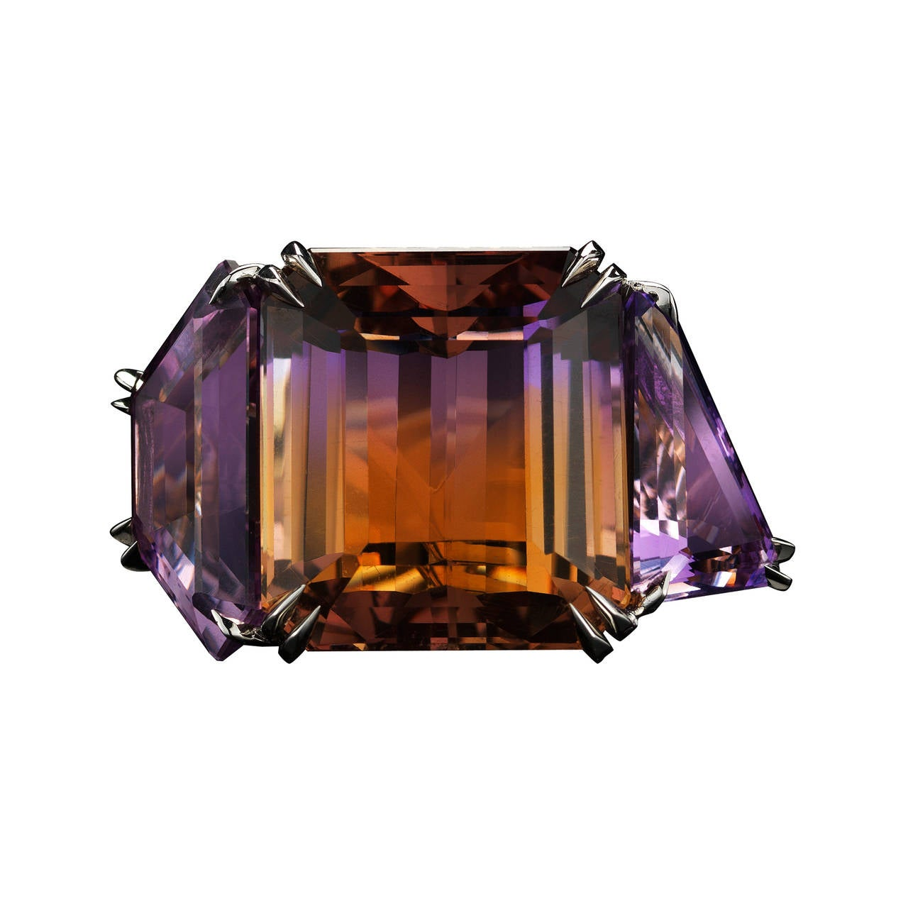 *Please contact us for more information on this piece or on creating your own Alexandra Mor custom Design.   A one-of-a-kind Alexandra Mor three stone bi-color Ametrine ring, featuring a 33.73 carat center Ametrine flanked by 9.53 and 5.64 carat