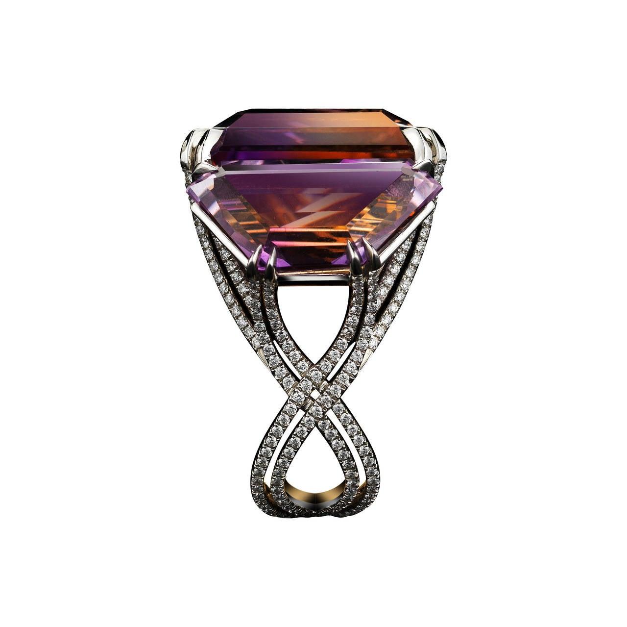 Contemporary Alexandra Mor Asymmetrical Bi-Color Ametrine and Diamond Ring For Sale