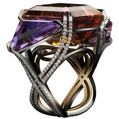 Alexandra Mor Asymmetrical Bi-Color Ametrine and Diamond Ring