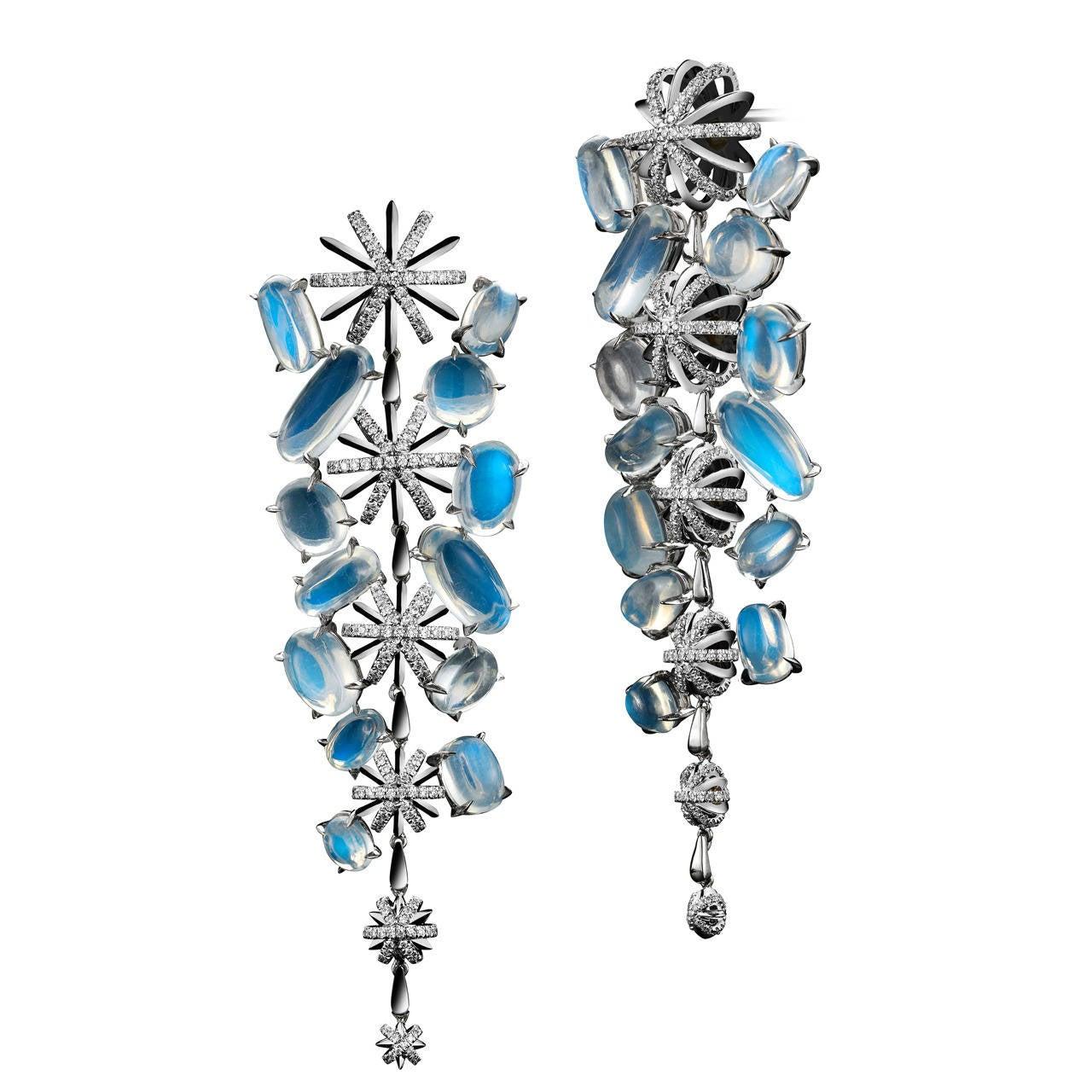 Alexandra Mor Moonstone Diamond Platinum Snowflake Earrings