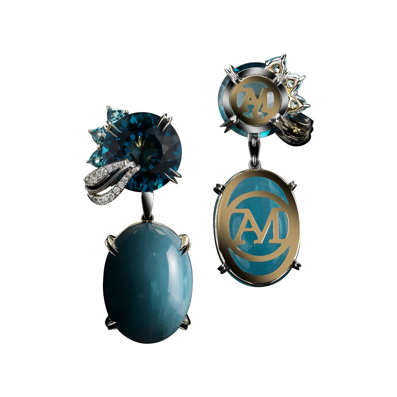 *Please contact us for more information on this piece or on creating your own Alexandra Mor custom Design.  A pair of Alexandra Mor dangling earrings featuring London Blue Topaz and Aquamarine medi leaf. Two Aquamarine Cabochon totaling 36.34