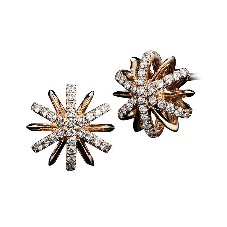 Diamond Gold Snowflake Stud Earrings For Sale