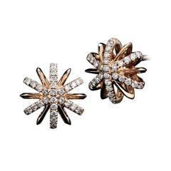 Diamond Gold Snowflake Stud Earrings