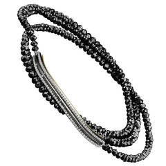 Alexandra Mor Black Diamond Gold Platinum Strand and Bar Bracelet