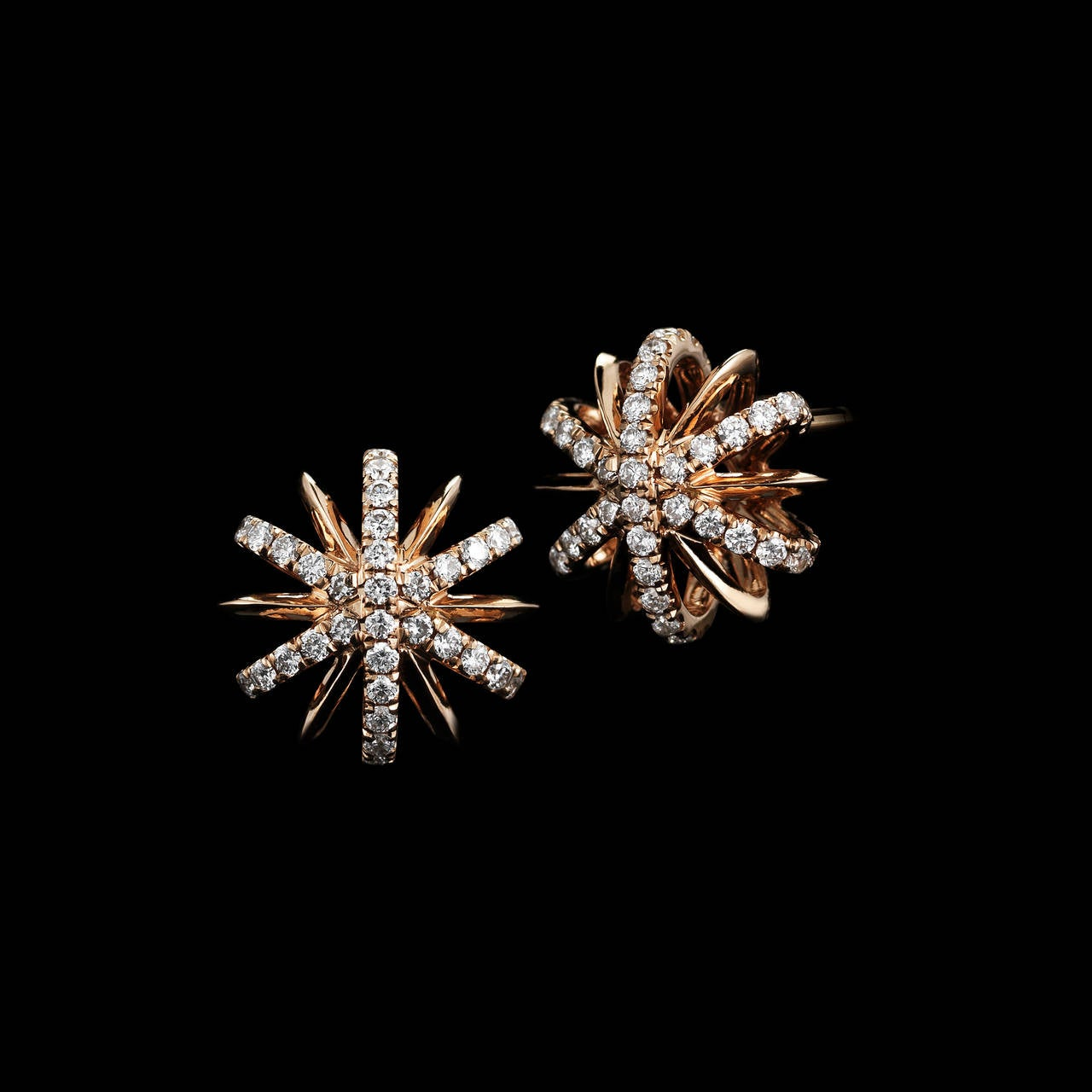 A pair of 10mm snowflake stud earrings with Alexandra Mor's signature details of 1mm melee bands and knife-edged wire. 18 karat Rose Gold.  Limited Edition of 25 Signed by artist. Crafted in the USA.