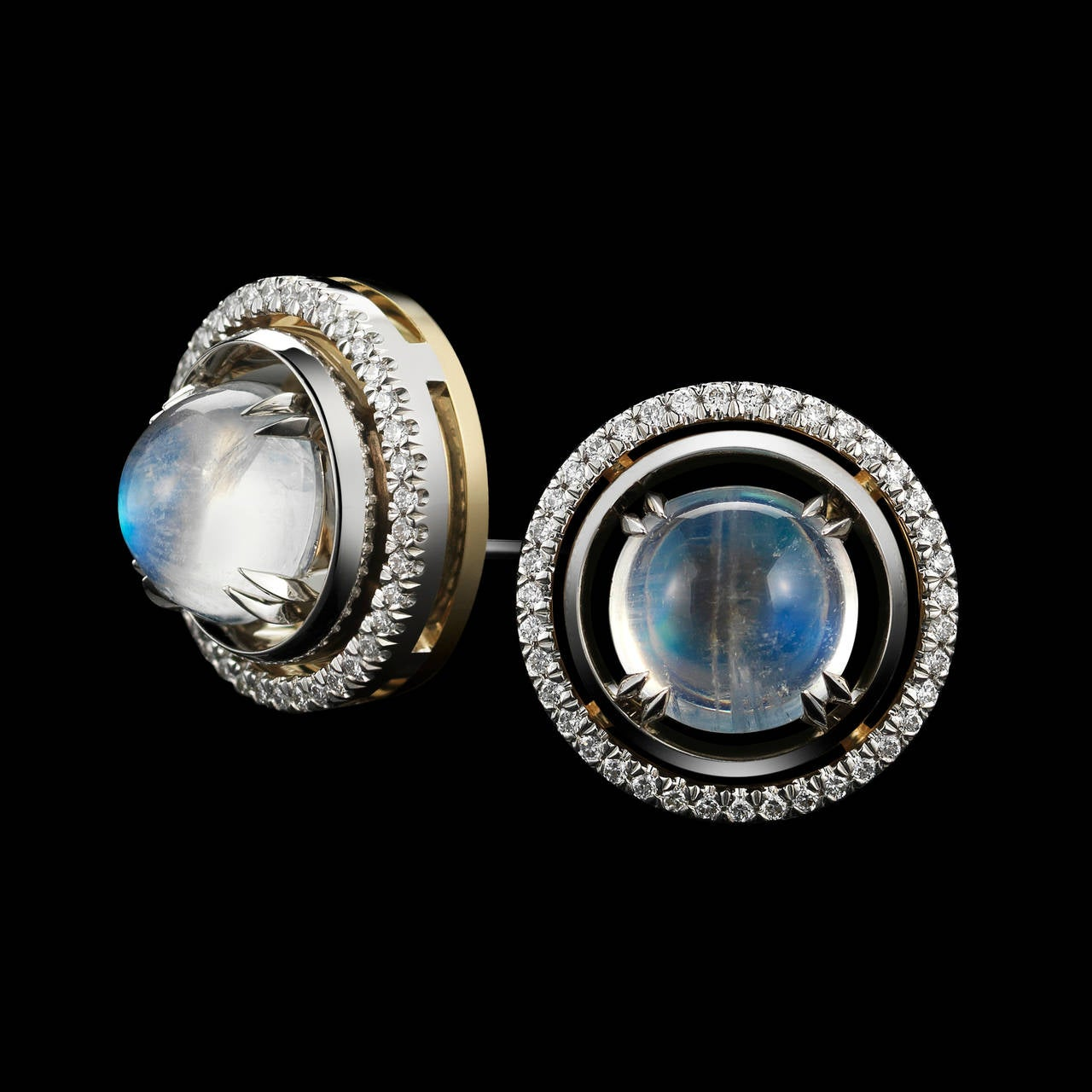 Contemporary Alexandra Mor Medium Moonstone Studs with Diamond Earring Jackets For Sale