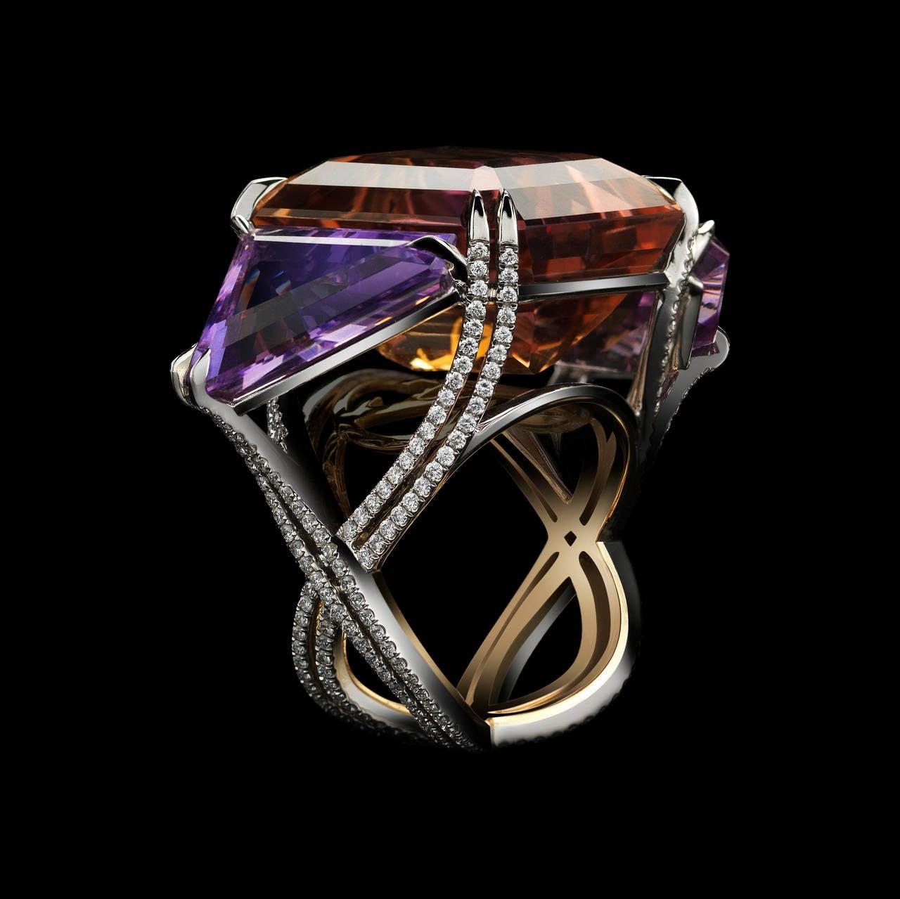 Women's or Men's Alexandra Mor Asymmetrical Bi-Color Ametrine and Diamond Ring For Sale