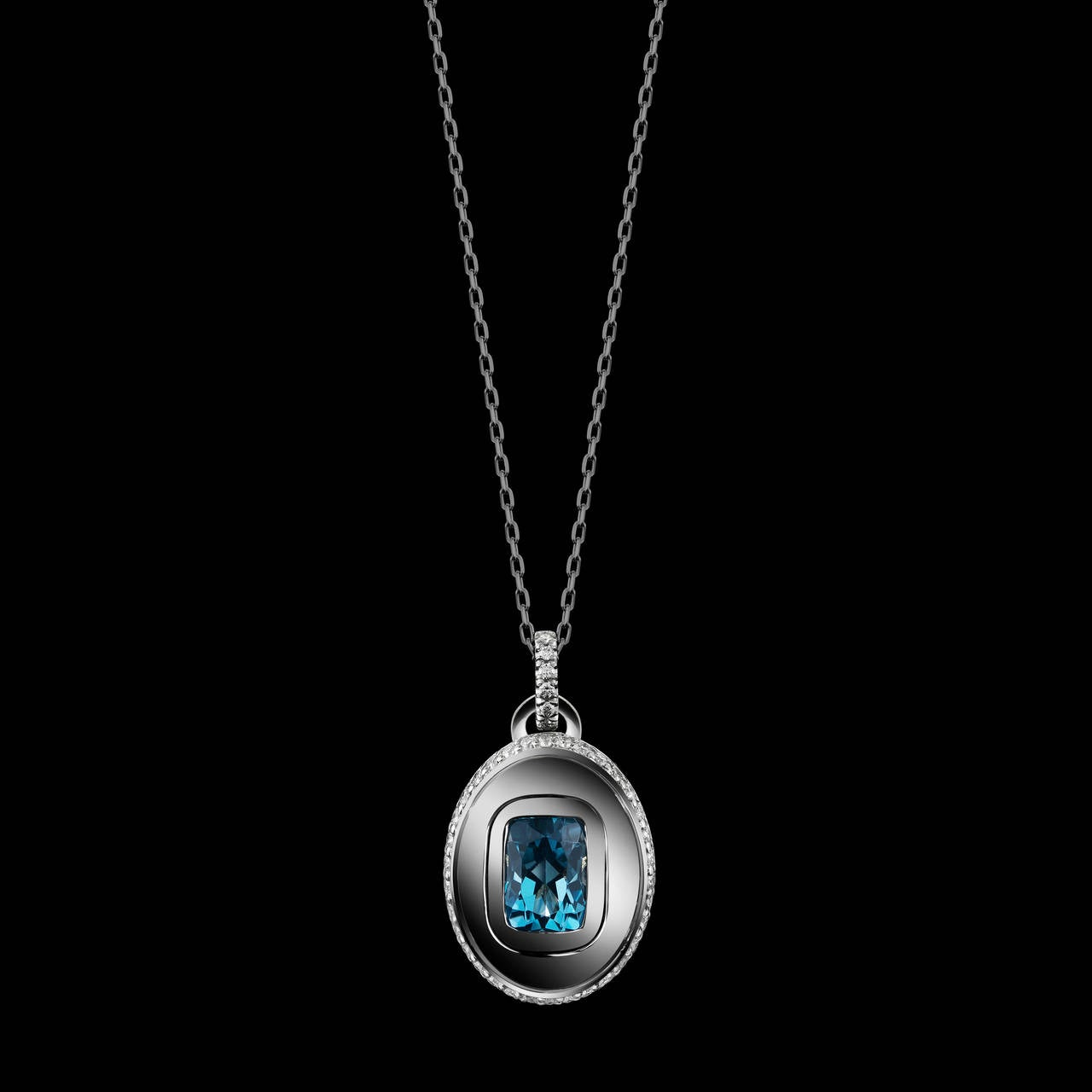 *Please contact us for more information on this piece or on creating your own Alexandra Mor custom Design.  Alexandra Mor December birthstone charm necklace features a Cushion-cut  blue Topaz weighing 1.40 carats. Pendant features 52 round Diamonds