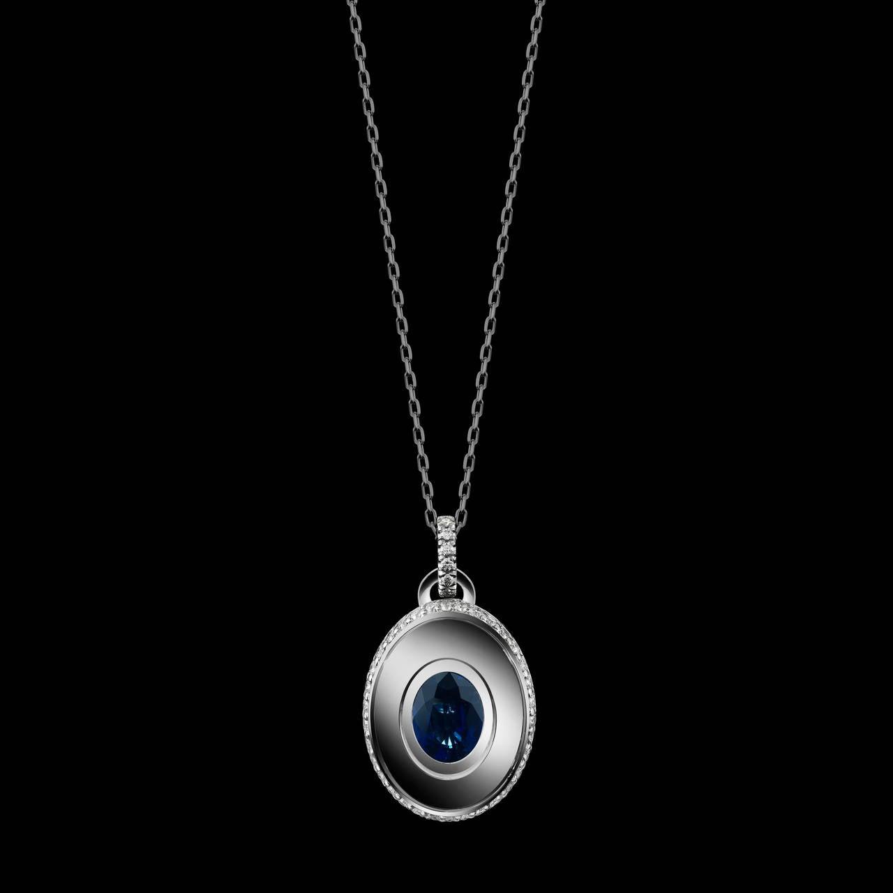 Contemporary Alexandra Mor Sapphire and Diamond September Birthstone Pendant For Sale