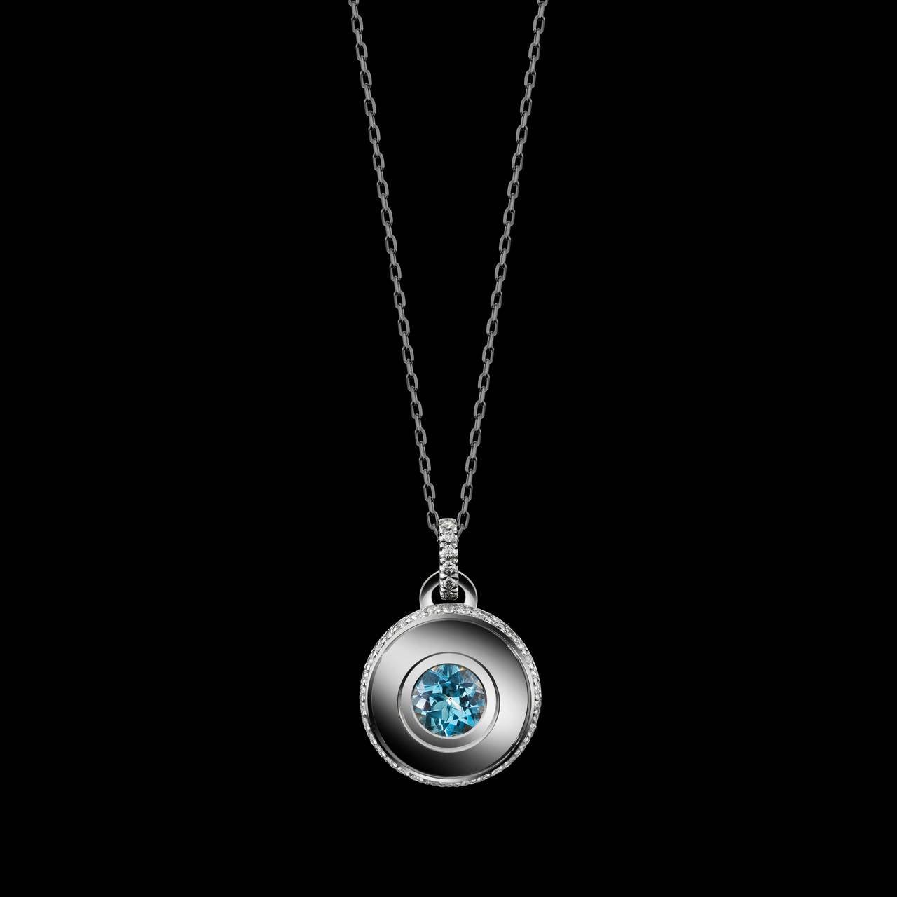 Contemporary Alexandra Mor Brilliant-Cut Aquamarine and Diamond March Birthstone Pendant For Sale