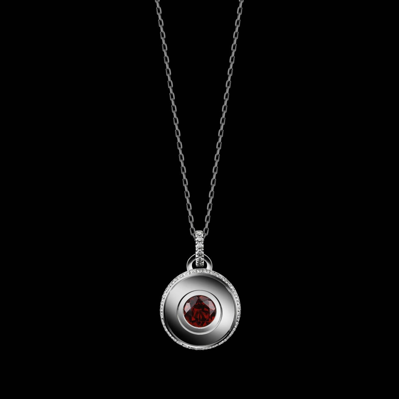 Contemporary Alexandra Mor Round Brilliant-Cut Ruby and Diamond July Birthstone Pendant For Sale