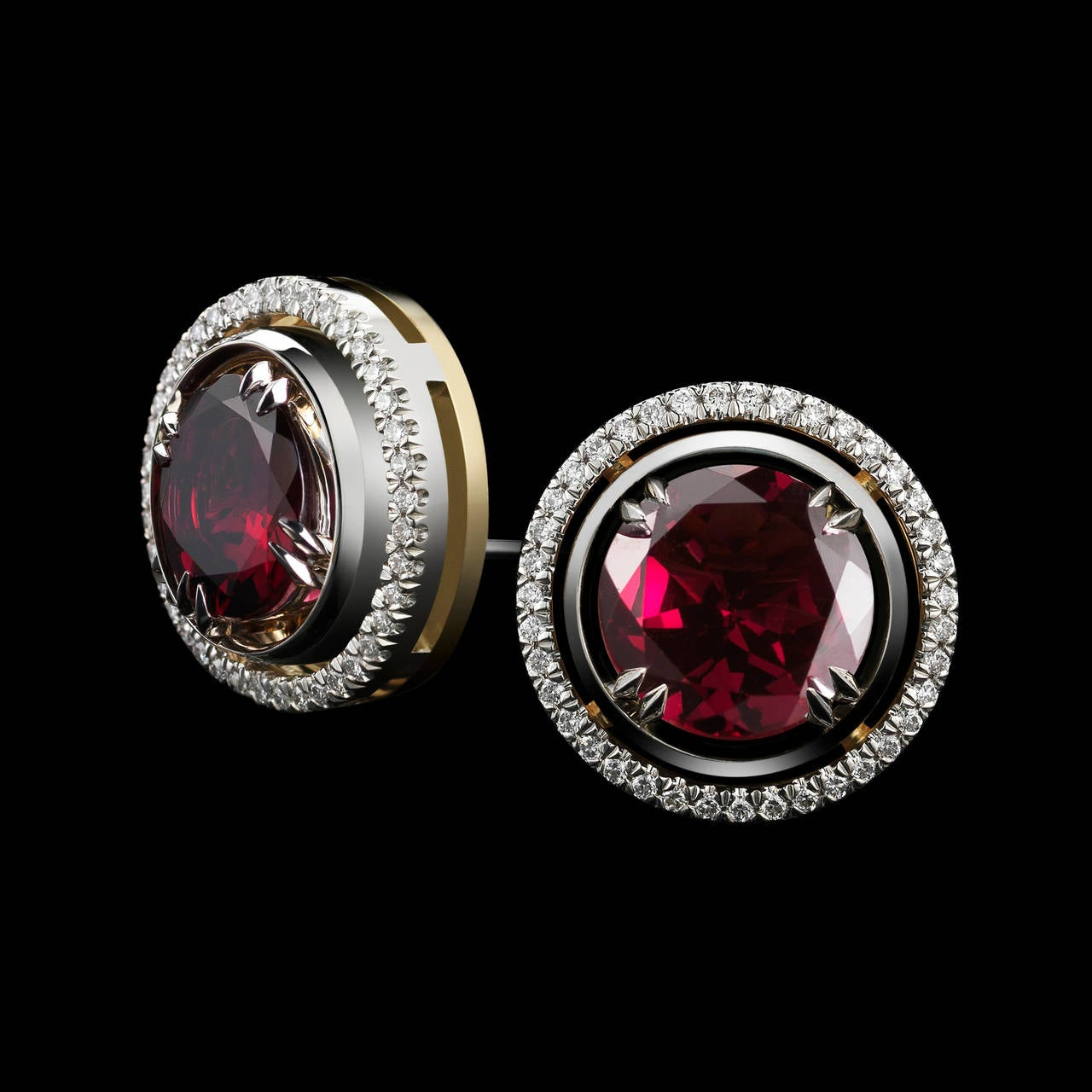 *Please contact us for more information on this piece or on creating your own Alexandra Mor custom Design.   A pair of Alexandra Mor studs with 4.27 carat Red Rhodolite accompanied by Diamond earring jackets detailed with Alexandra Mor's signature