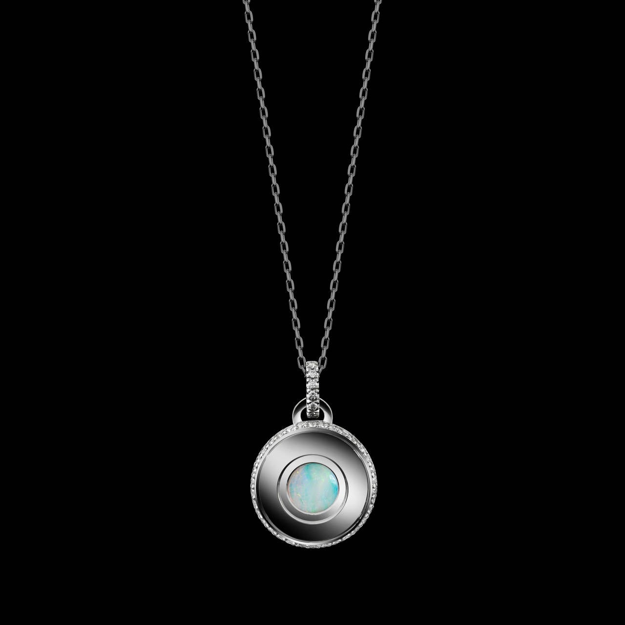*Please contact us for more information on this piece or on creating your own Alexandra Mor custom Design.   Alexandra Mor October birthstone charm necklace features a Round shaped Opal weighing 0.37 carats. Pendant features 48 round diamonds with a