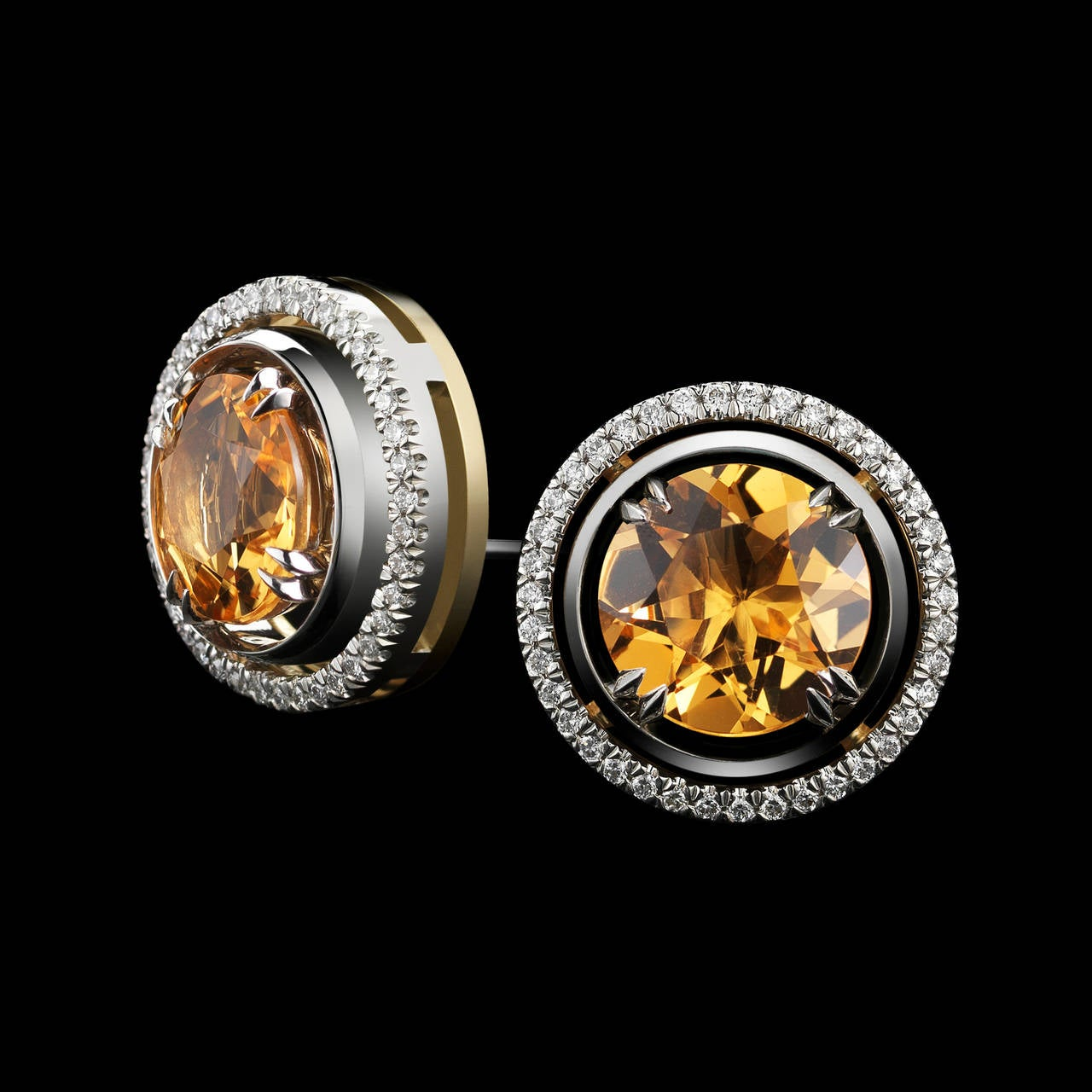 Contemporary Alexandra Mor Yellow Citrine Studs with Signature Diamond Earring Jackets For Sale