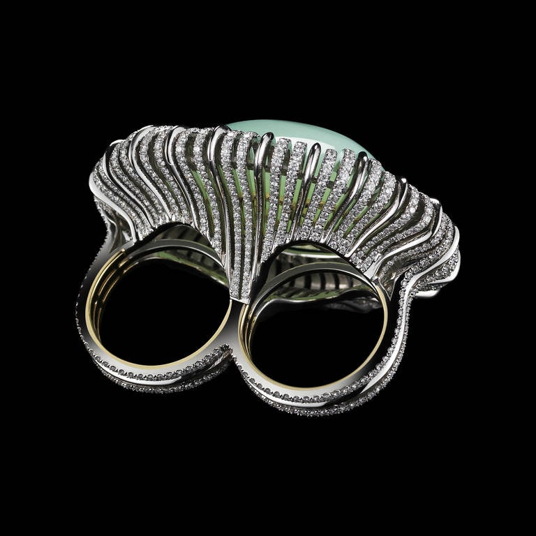 Contemporary Alexandra Mor Andean Blue Opal Diamond Gold Platinum Two Finger Ring For Sale